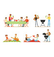 people relax on barbecue and picnic vector image vector image