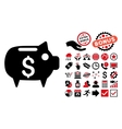 Piggy Bank Flat Icon with Bonus vector image vector image
