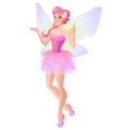 Pink fairy with butterfly wings showing ok sign vector image vector image