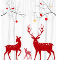 red christmas deer with birch tree vector image vector image