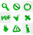 set glass icons button stop optical vector image vector image