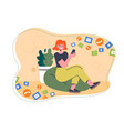 smiling female character is holding smartphone vector image