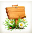 Spring time for a picnic wooden sign in a grass vector image vector image