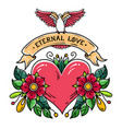 tattoo heart with flowers ribbon and dove love vector image vector image