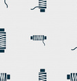 Thread Icon sign Seamless pattern with geometric vector image vector image