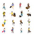travel people isometric icons vector image vector image