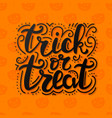 trick or treat lettering on abstract background vector image vector image