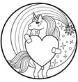 unicorn round print vector image