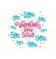 Valentines day sale discount percentages vector image vector image