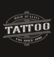 vintage logo for the tattoo studio vector image vector image