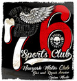 vintage motorcycle logo emblem t shirt design vector image vector image