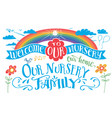 welcome to our nursery headlines set vector image vector image