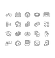 Line Gambling Icons vector image