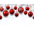 Arc background with red christmas balls vector image