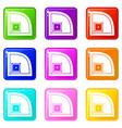 baseball field icons 9 set vector image vector image