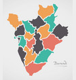 burundi map with states and modern round shapes vector image vector image