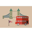 bus flag bridge london england design vector image vector image