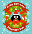 christmas and new year background card with pengui vector image vector image