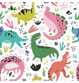 cute dinosaurs hand drawn color seamless vector image vector image