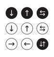 directional arrow icons in black and white vector image
