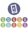 Euro phone flat icon vector image vector image