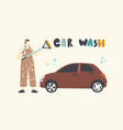 female character work at car wash service worker vector image vector image
