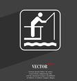 fishing symbol Flat modern web design with long vector image