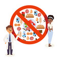 flat style icons food allergy triggers doctor vector image