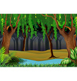 Forest scene with trees and river vector image vector image
