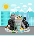 garbage dump on urban landscape background vector image