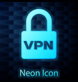 glowing neon lock vpn icon isolated on brick wall vector image vector image