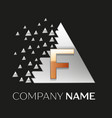golden letter f logo in silver pixel triangle vector image vector image