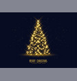 golden sparkles christmas tree background vector image