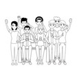 group of friends cartoon vector image