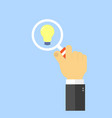 hand with magnifying glass and light the concept vector image vector image