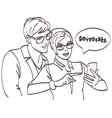 hipster couple looking phone Love couple vector image vector image