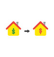 icon concept of house with dollar money symbols vector image