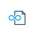 infinity document logo icon design vector image vector image