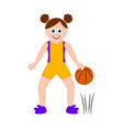 isolated cute basketball player with a ball vector image vector image