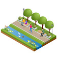 isometric eople relaxing and walking in park vector image vector image