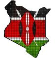 Kenya map with flag inside vector image