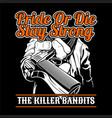 killer banditgive a gun hand drawingshirt designs vector image vector image