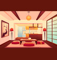 kitchen in asian style chinese japanese room vector image vector image
