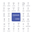 line icons set stemware vector image vector image
