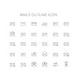 mails line icon set vector image