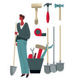 male character buying instrument from tool shop vector image vector image