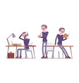 male teacher working resting vector image vector image