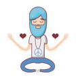 man meditation with hearts and beard vector image vector image