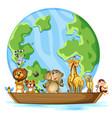 many animals round world on white background vector image