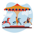 merry-go-round or carousel isolated icon children vector image